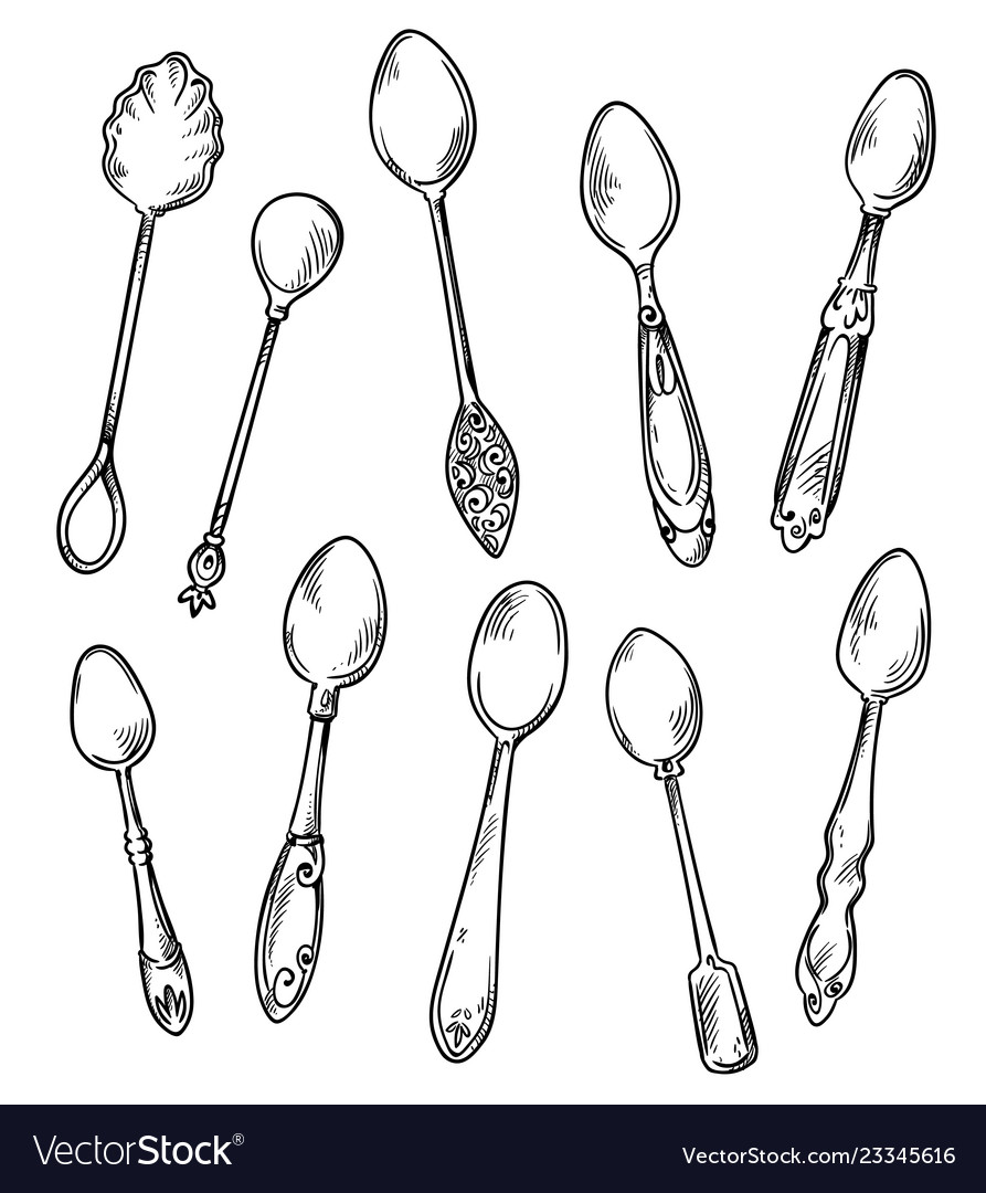 Set spoons hand drawn