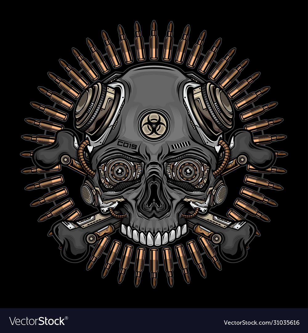 Skull head and bullets