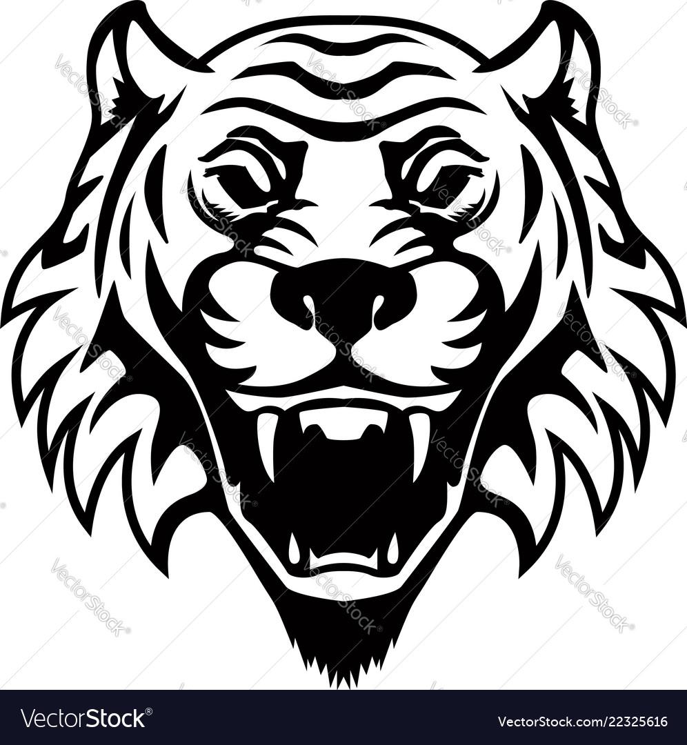 Tiger head design element for logo label emblem