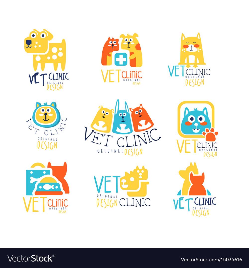 Vet clinic original label design colorful hand vector image