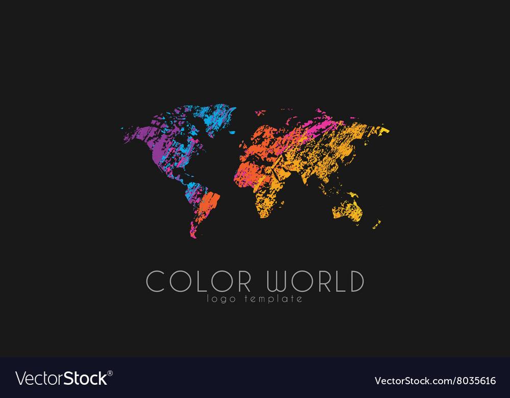 World map logo World logo Color world Creative vector image