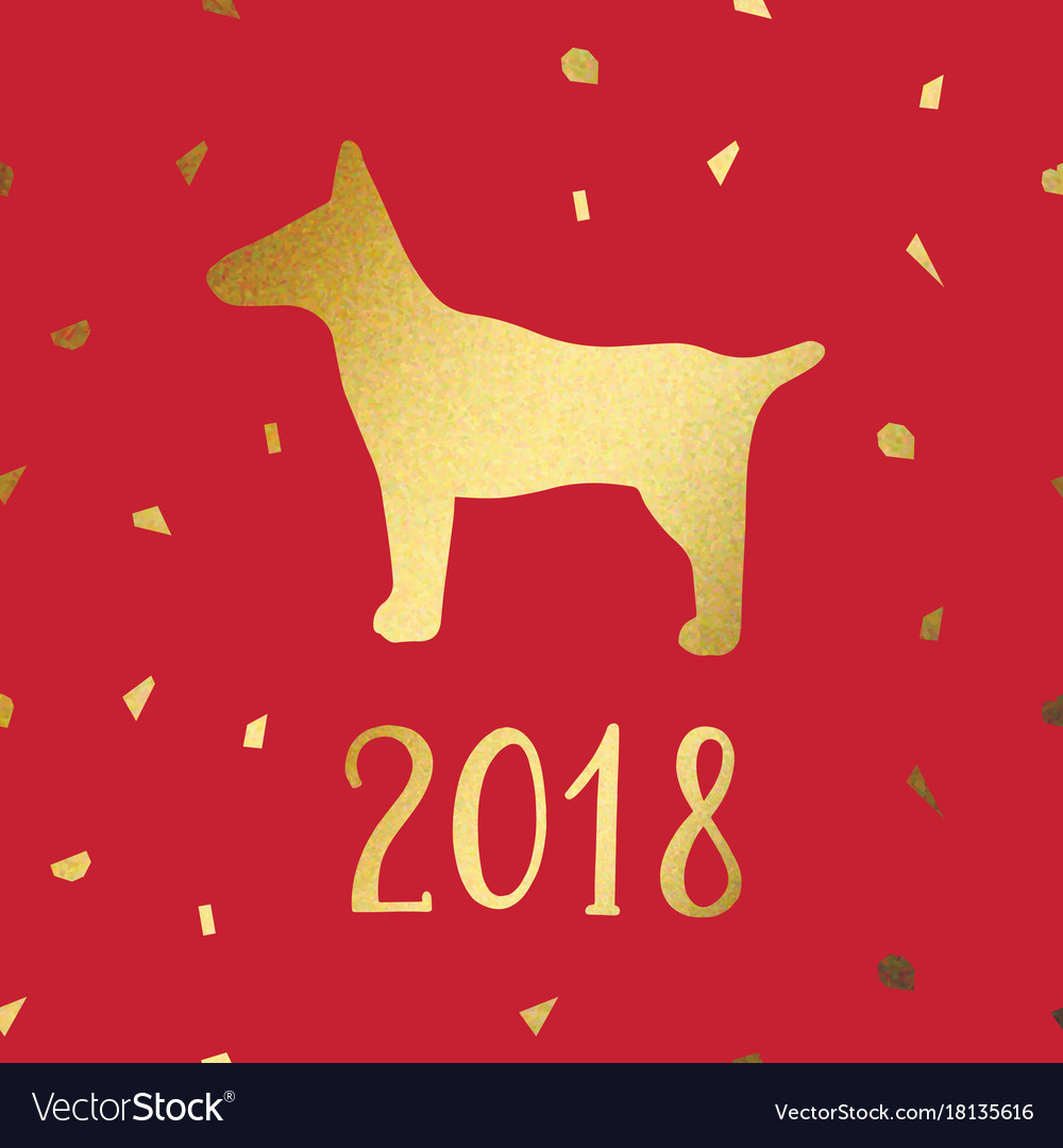 Year of the dog imitation of gold for design