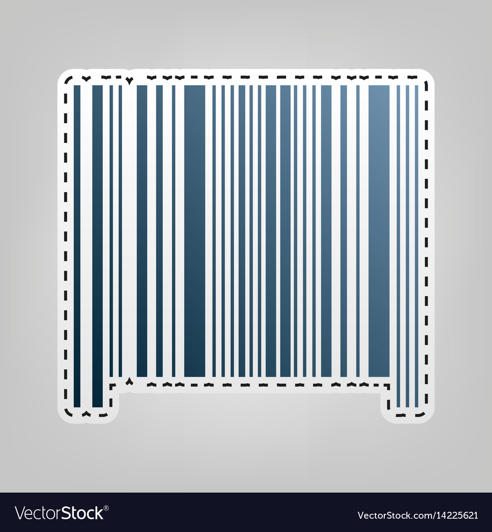 Bar code sign blue icon with outline for