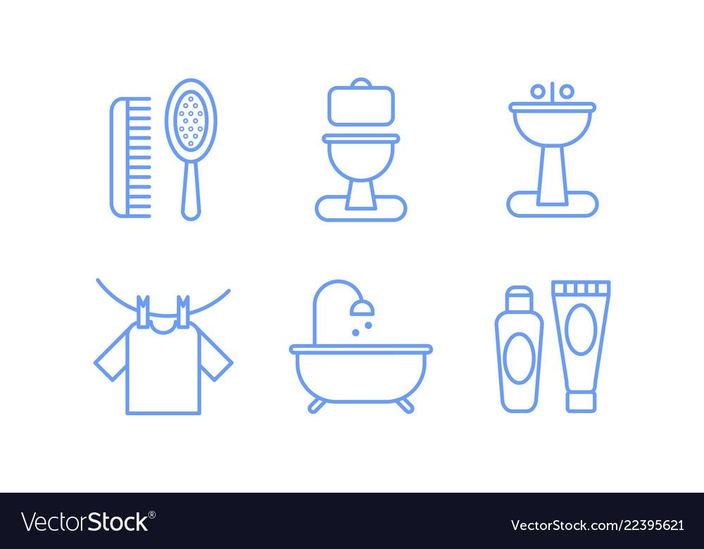 Bathroom icons set hygiene body care linear