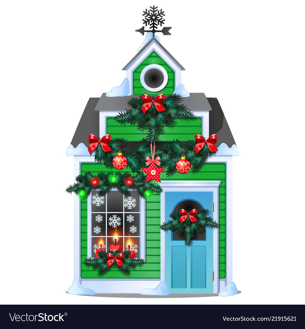 Christmas gift in form rustic wooden house