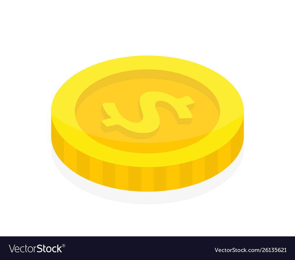 Dollar coin in isometric style 3d money flat icon