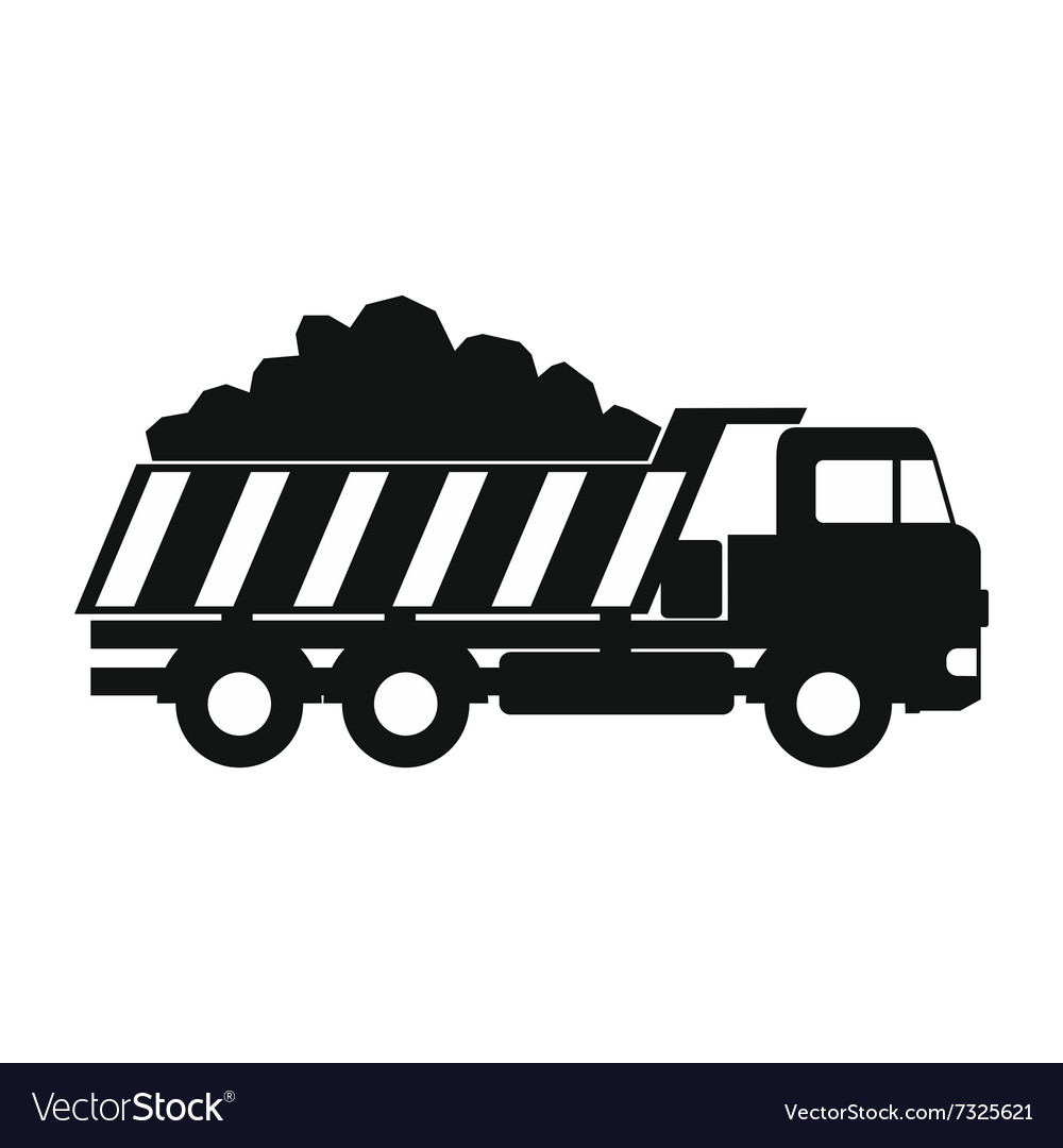 Dump truck black simple icon vector image