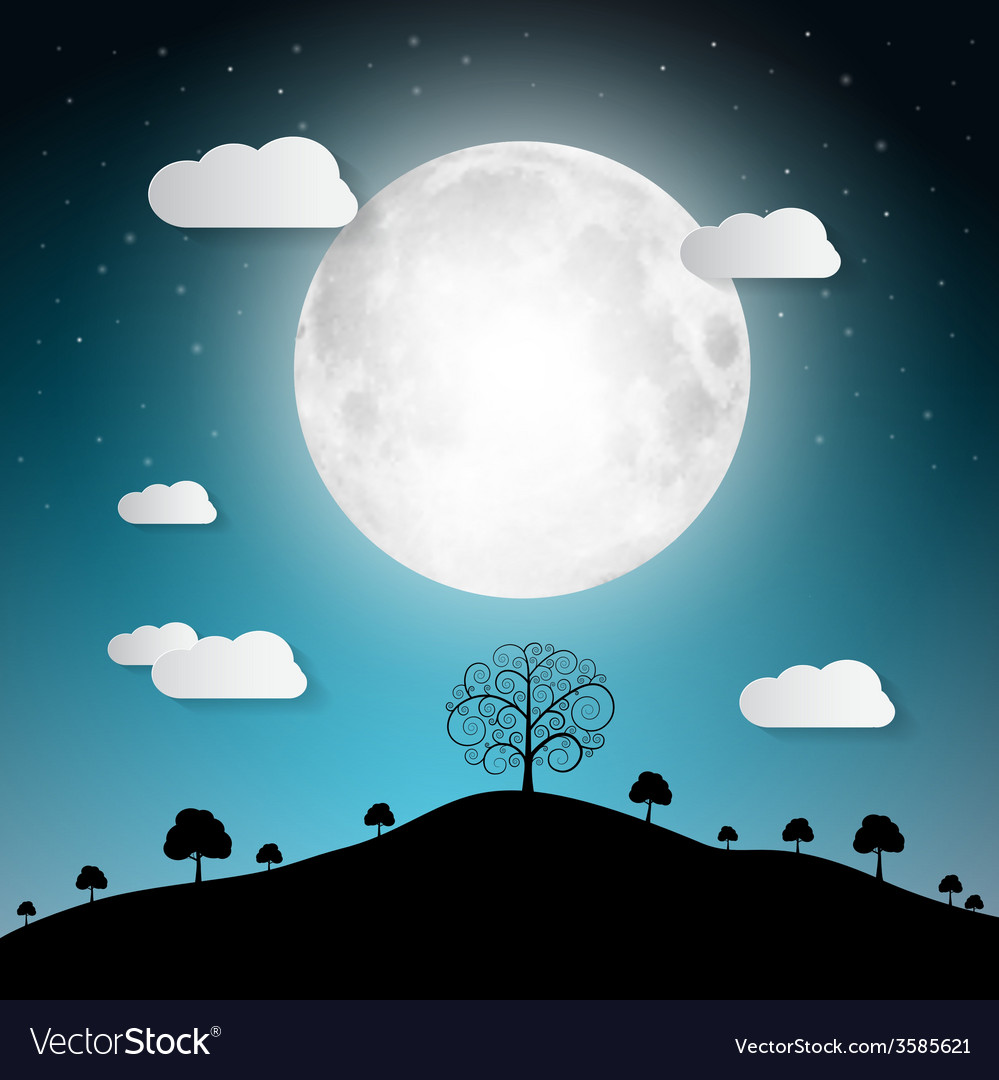 Full moon with clouds and trees on hill
