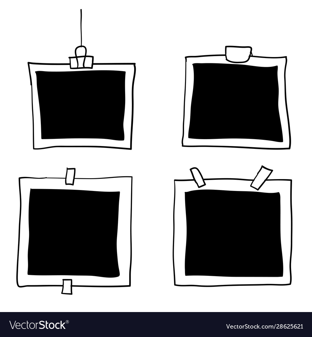 Handdrawn photo frames with doodle style