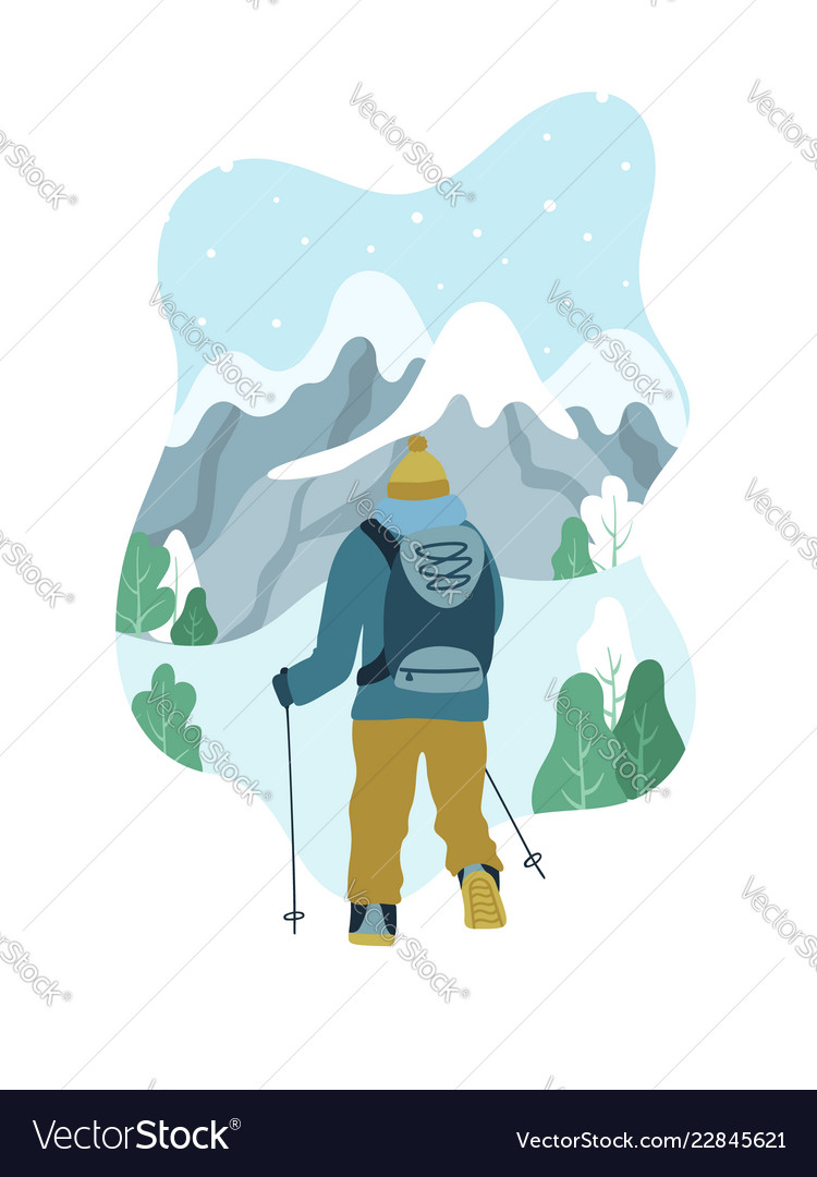Man with backpack hiking to the top of mountain