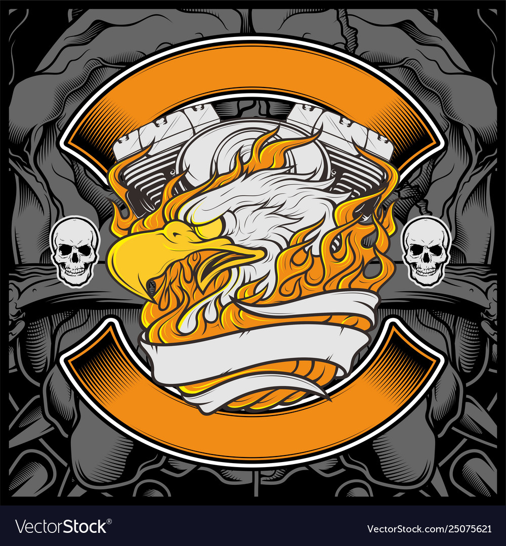 Motorcycle eagle american logo emblem graphic