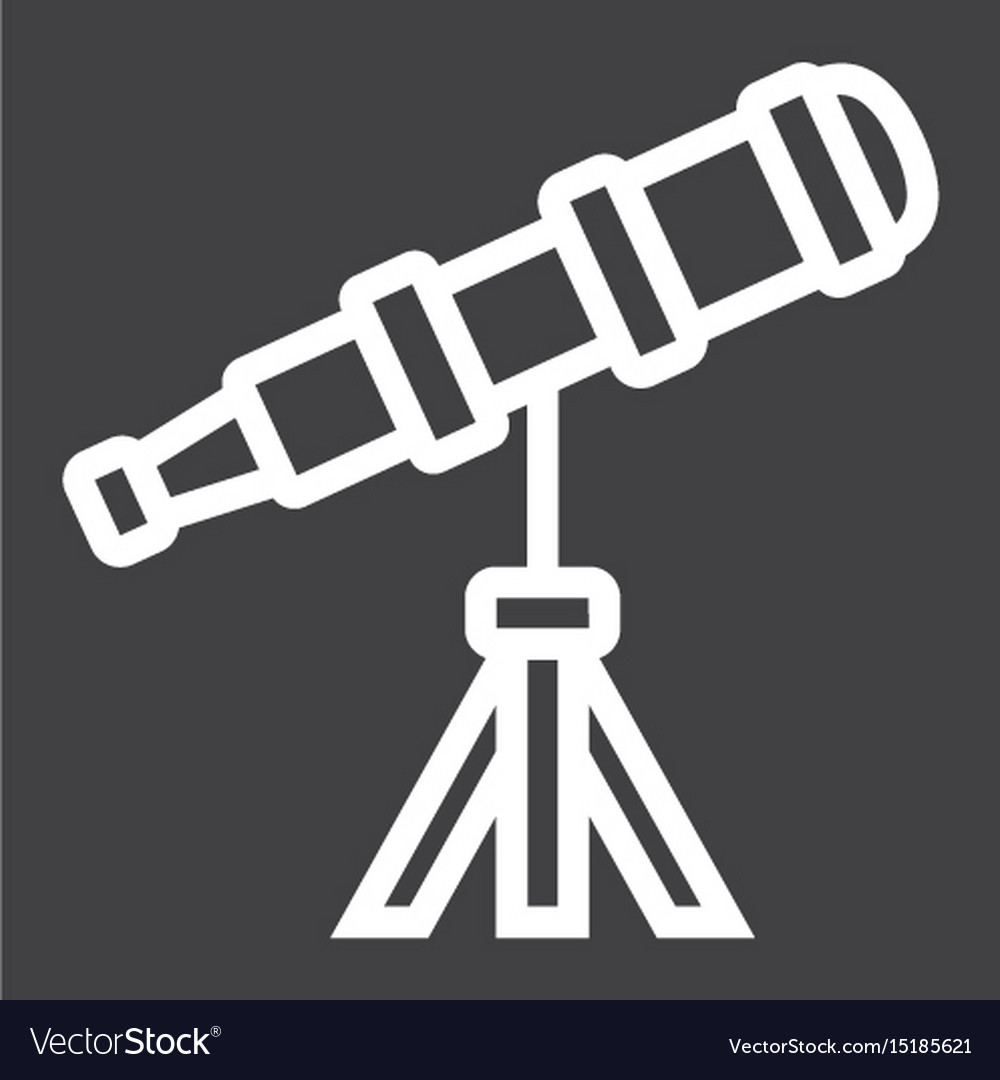 Telescope line icon astronomy and science
