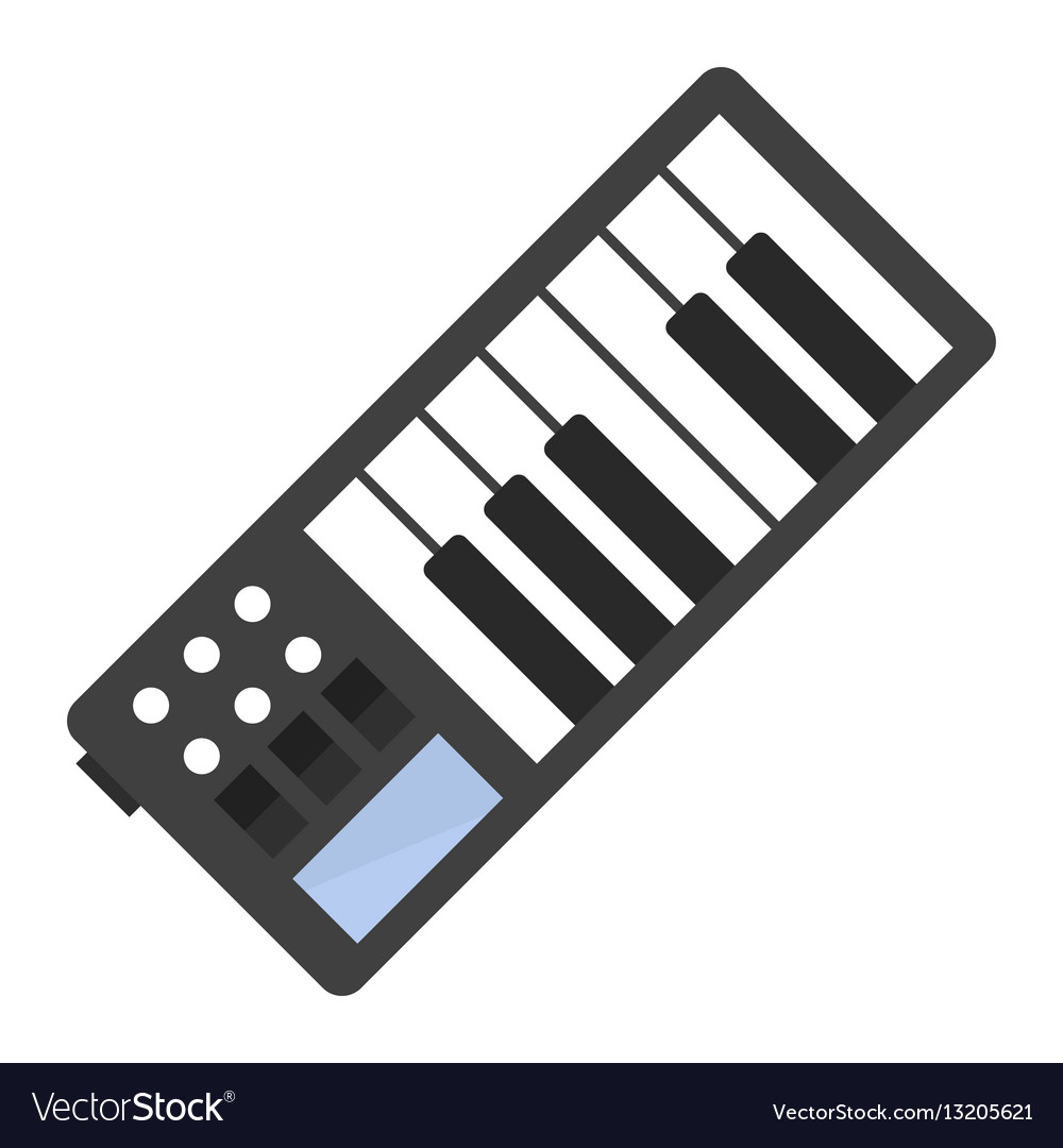 Vintage synthesizer musical equipment flat design