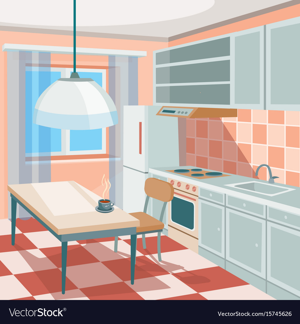Cartoon of a kitchen interior Royalty Free Vector Image