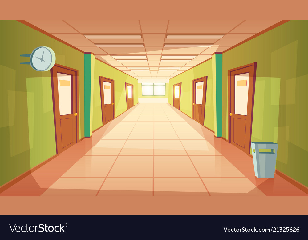 cartoon school or college hallway royalty free vector image