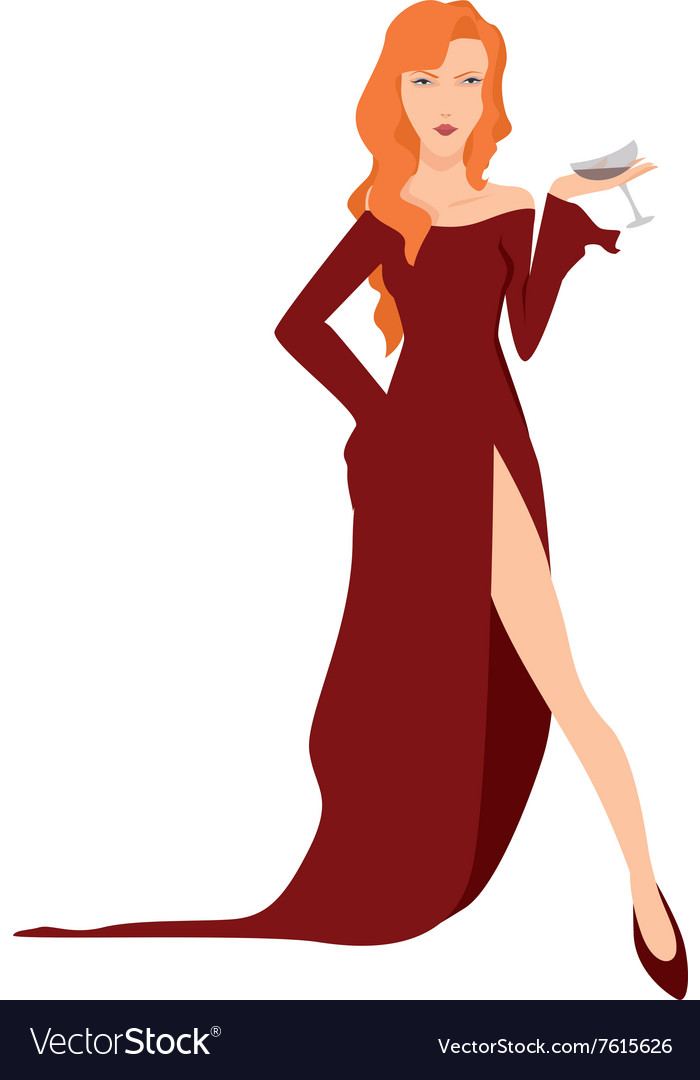 Cocktail girl vector image