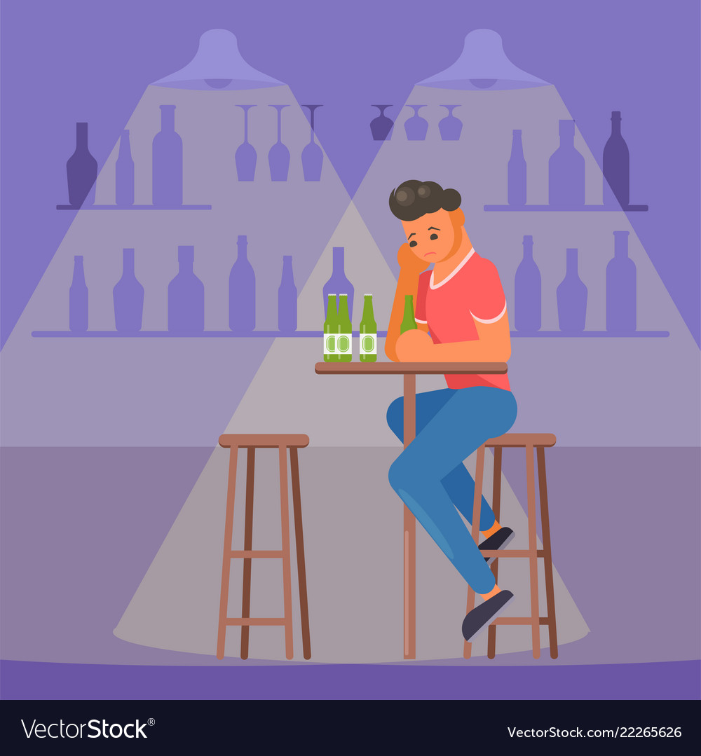 Depressed man with beer flat style design