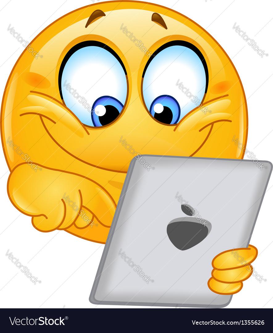 Emoticon with tablet vector image
