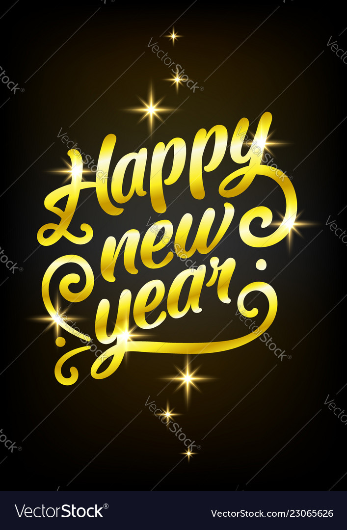 Golden happy new year sign 2019 holiday
