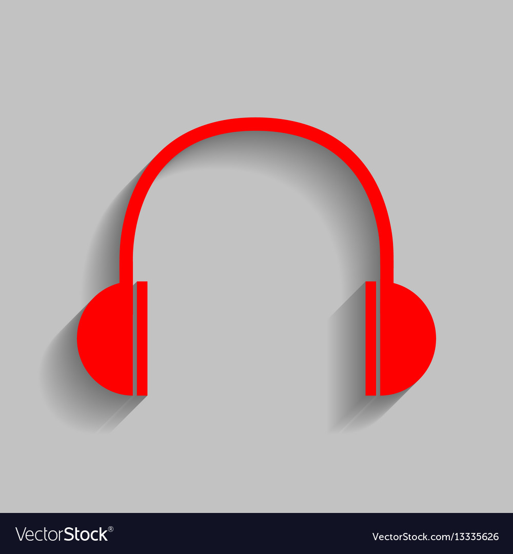 Headphones sign red icon