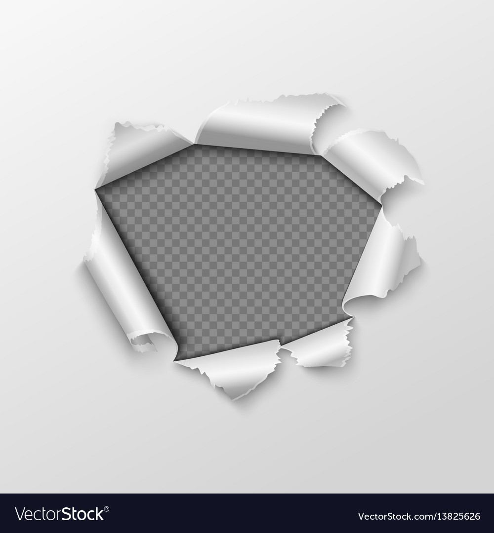 Paper hole with torn edges isolated on transparent