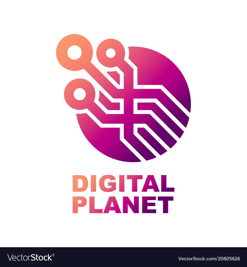 World tech logo design template abstract digital