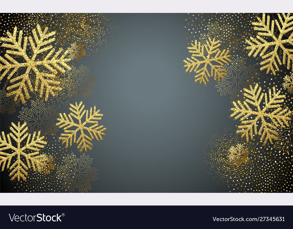 Christmas card with gold snowflakes and