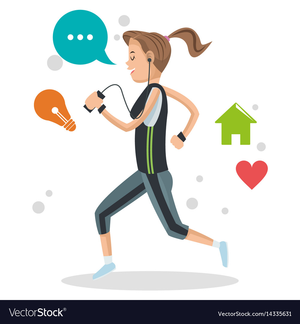 Cute girl running with mp3 music social media