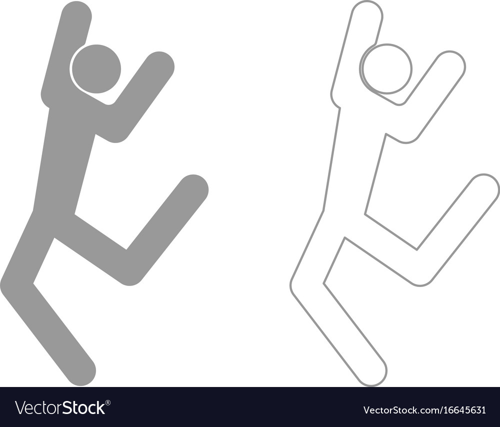 Dancer stick grey set icon