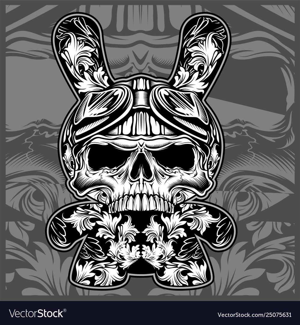 Floral ornamental skullshand drawing