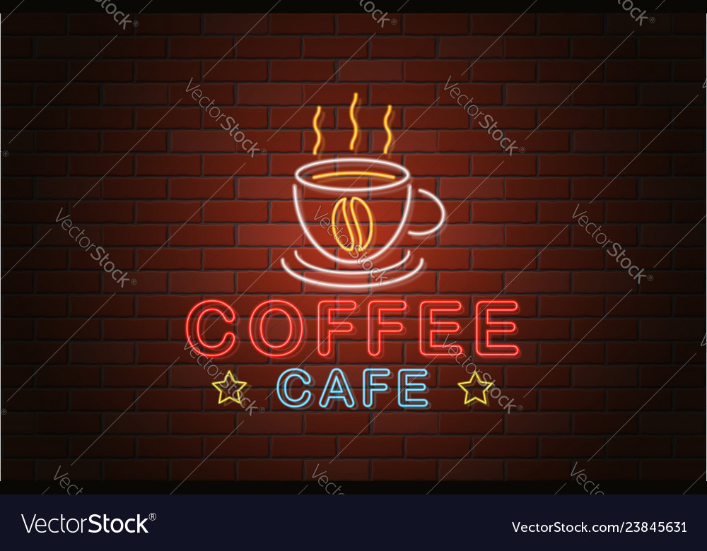 Glowing neon signboard coffee cafe isolated on