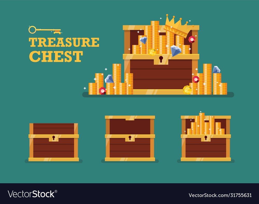 Open chest with gold collection set