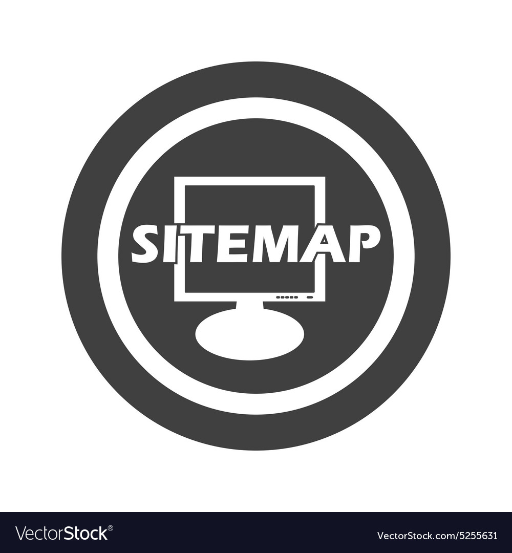 Round black sitemap sign