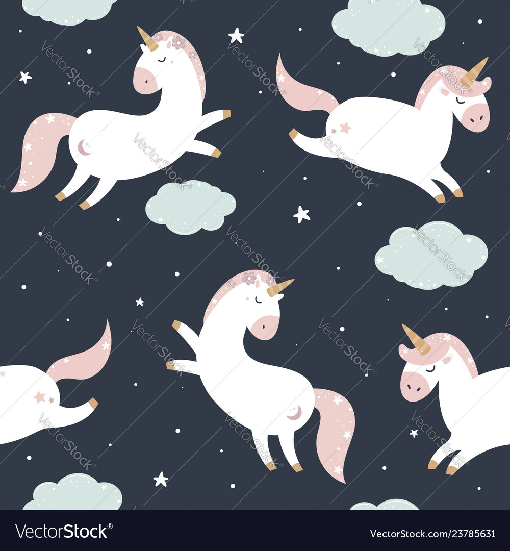 Seamless pattern with unicorns in pastel colours