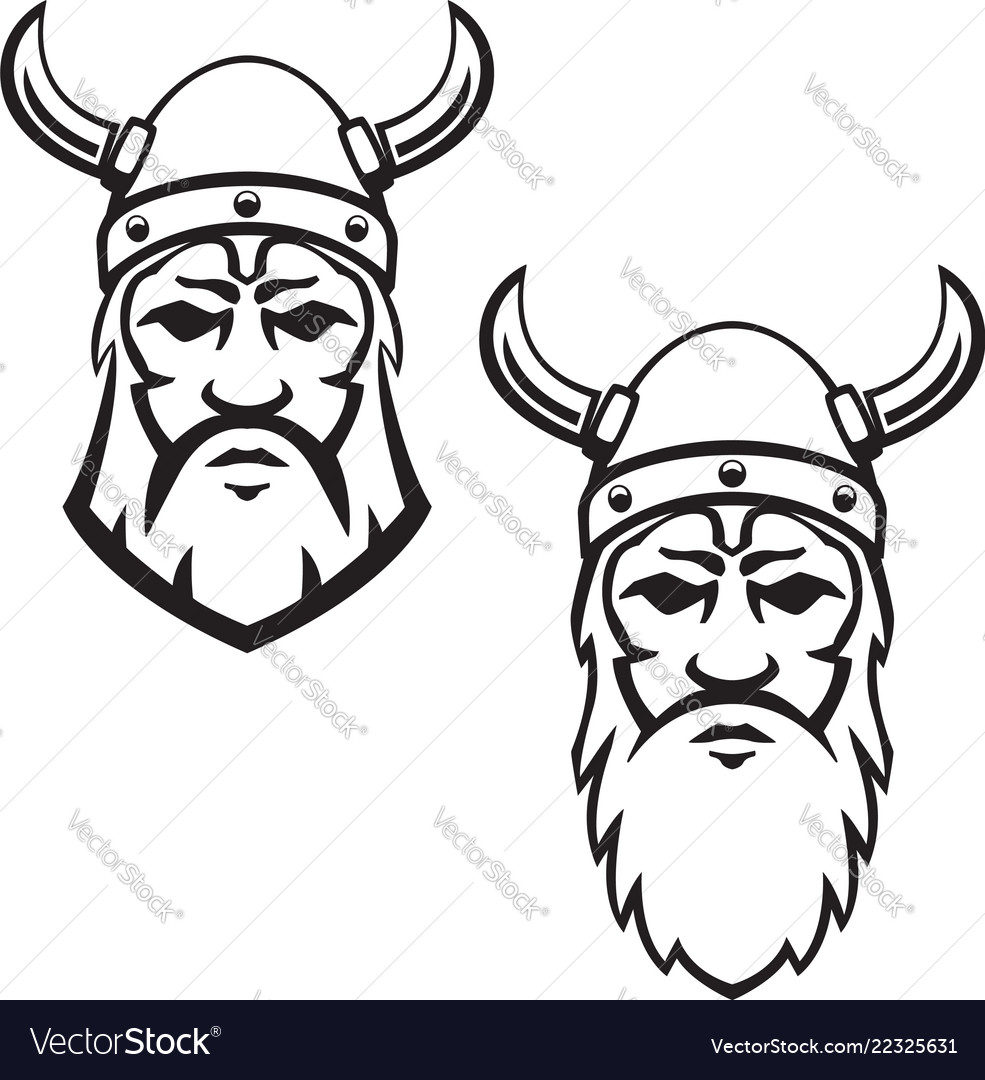 Set of viking warrior head design element for