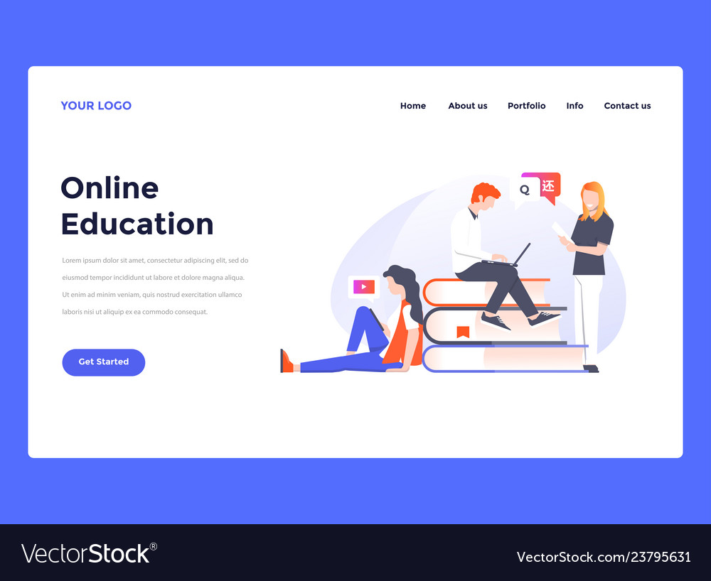Web Design Flat Modern Template Online Education
