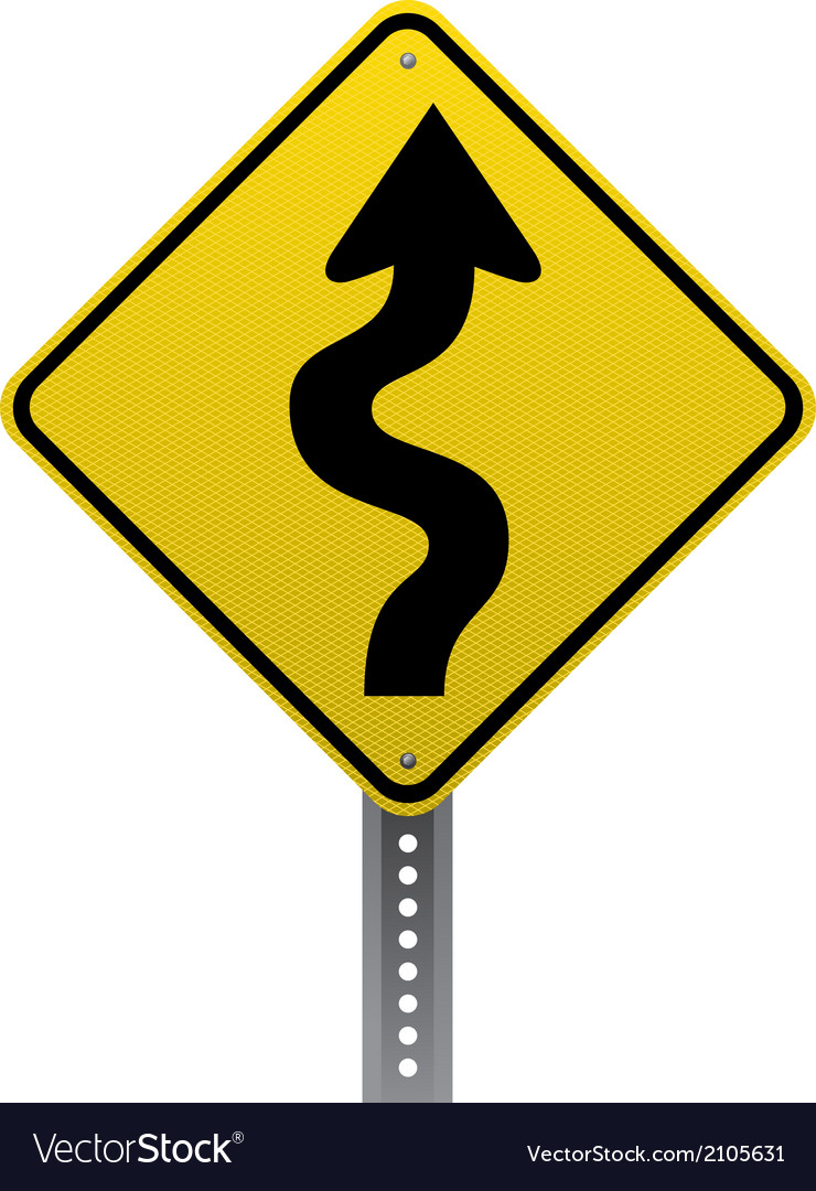 winding road sign royalty free vector image vectorstock rh vectorstock com road sign vector download road sign vector art
