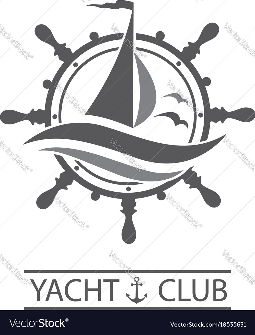Yacht helm and waves icon vector image