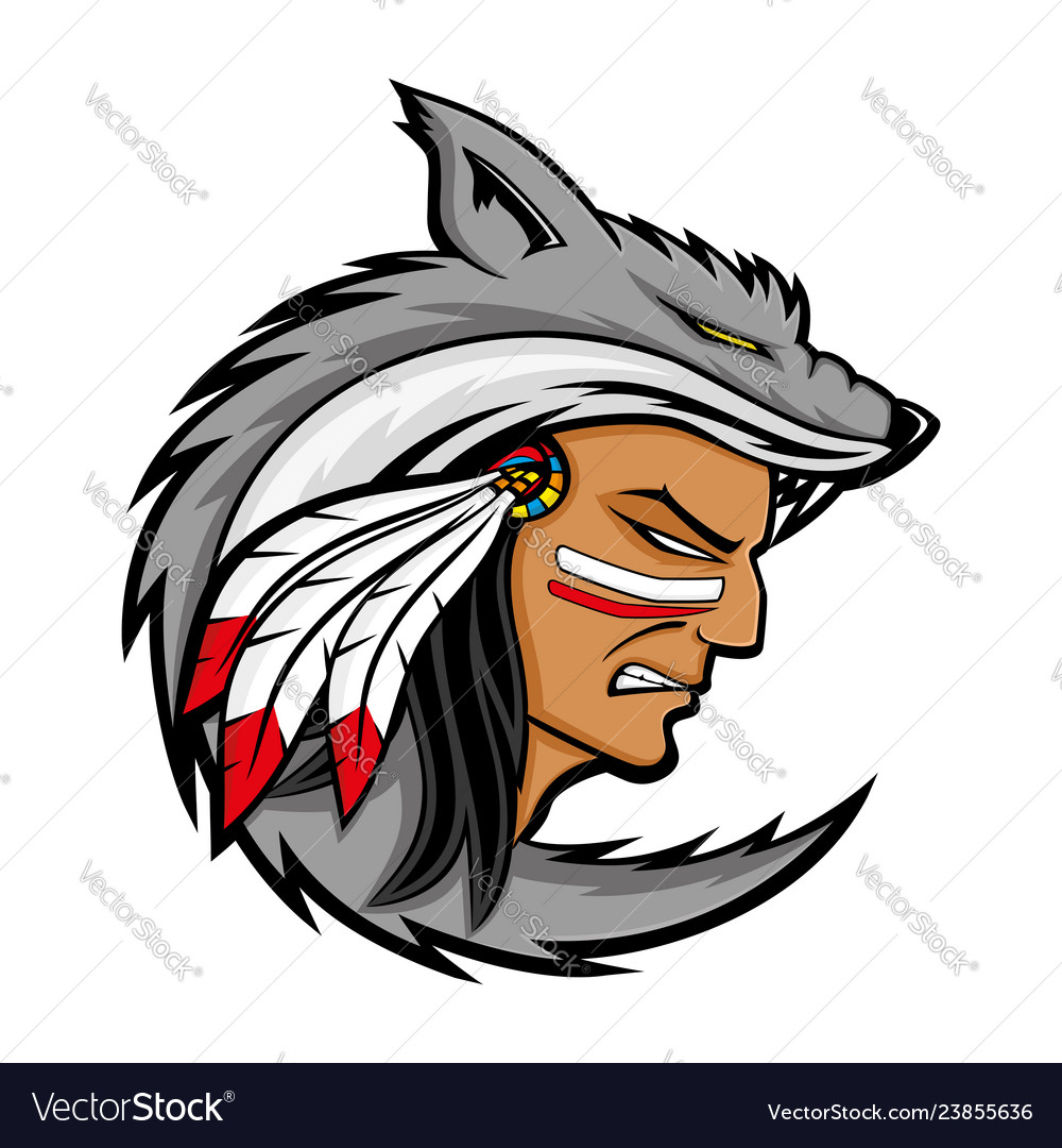 American indian in wolf skin