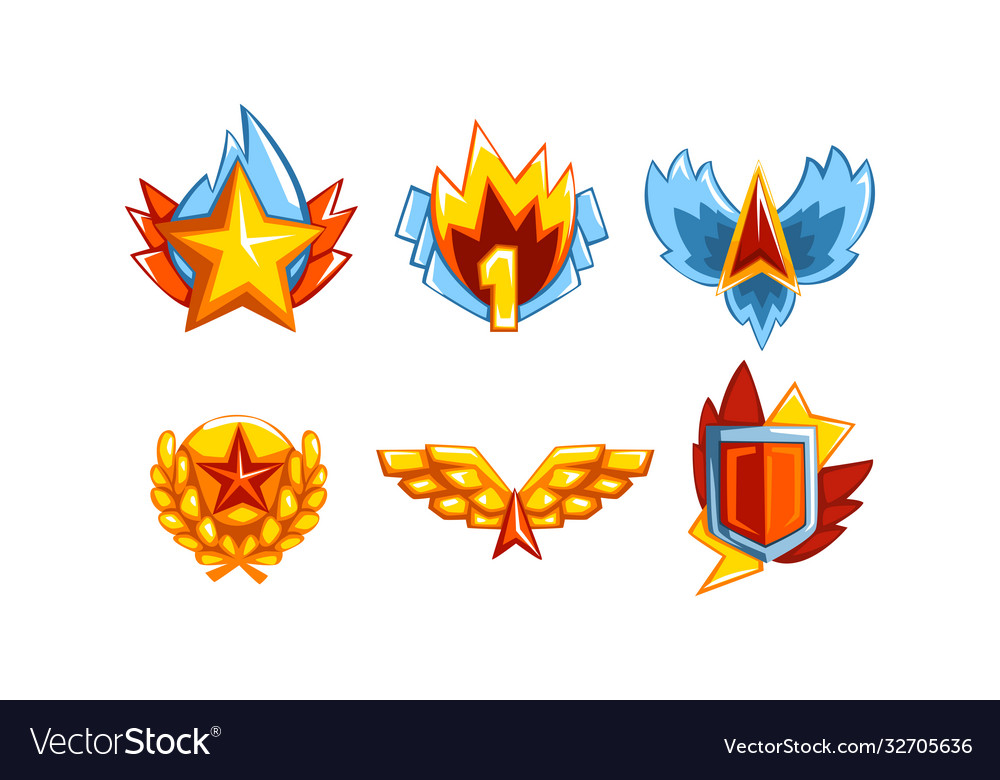Awards with wings star and shield set golden