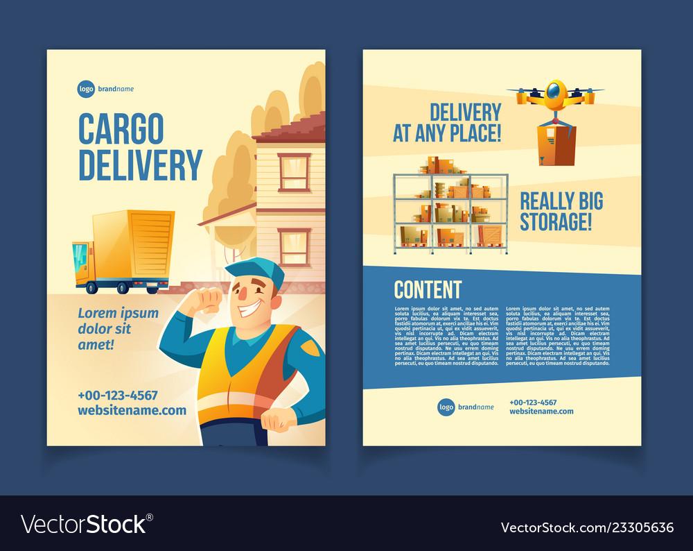 Cargo delivery service cartoon brochure Royalty Free Vector
