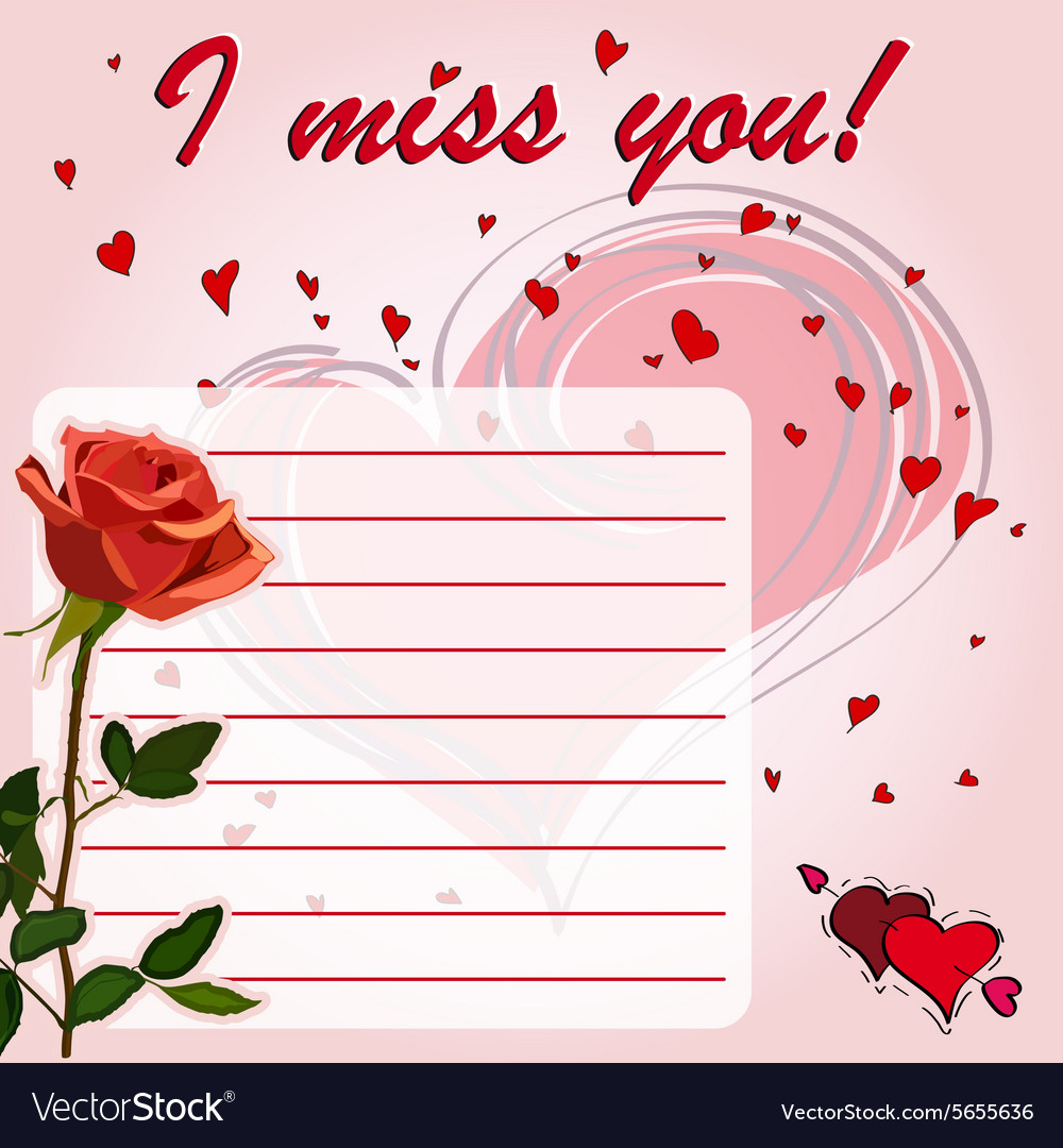 Greeting card i miss you with flower red rose vector image m4hsunfo