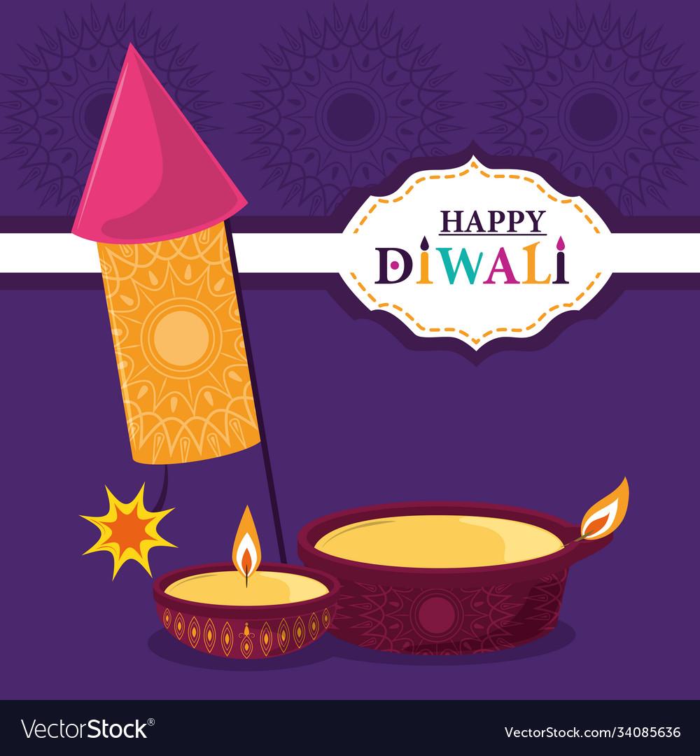 Happy diwali festival fireworks diya lamps
