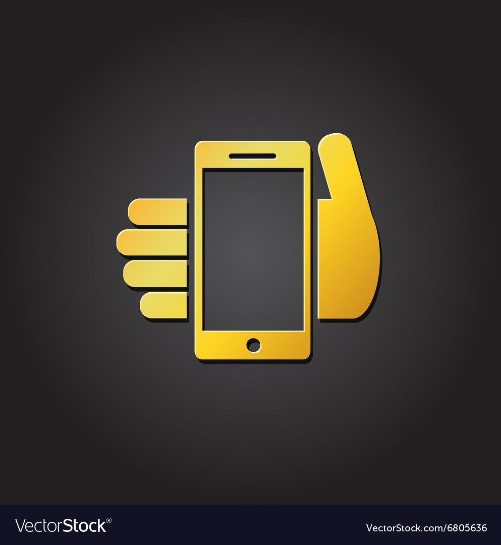 a6c052405f Mobile phone in hand - gold icon or logo Vector Image