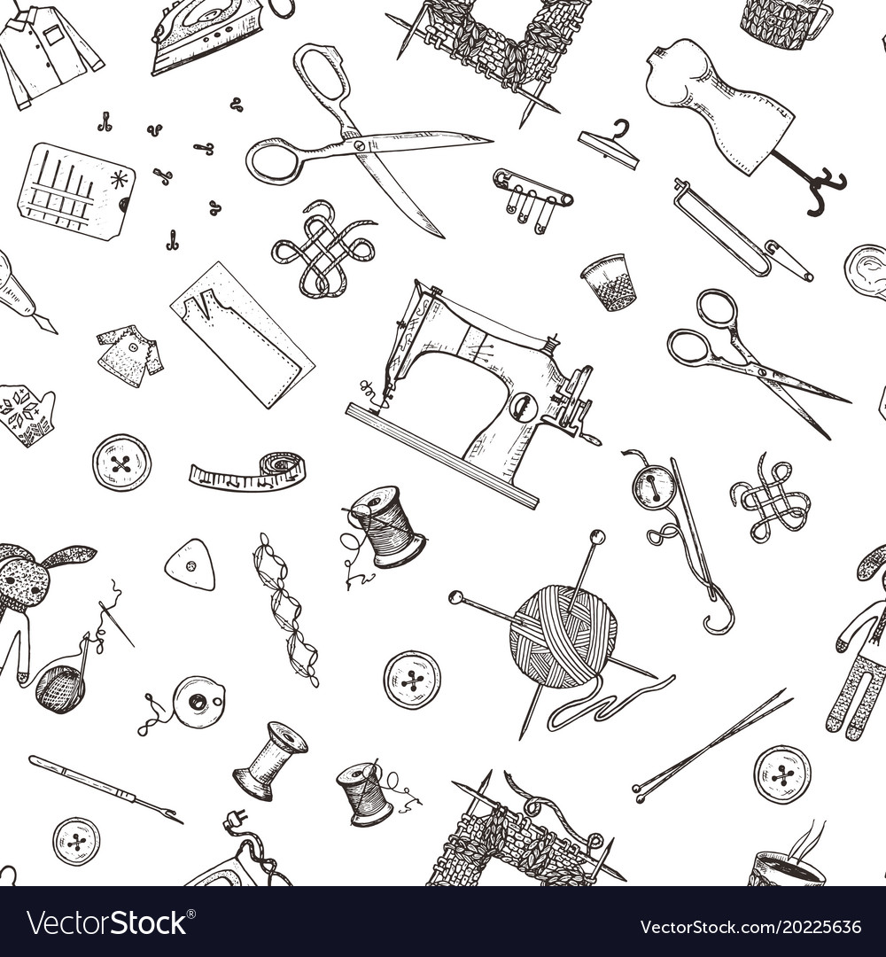 Seamless pattern of sewing tools and materials or