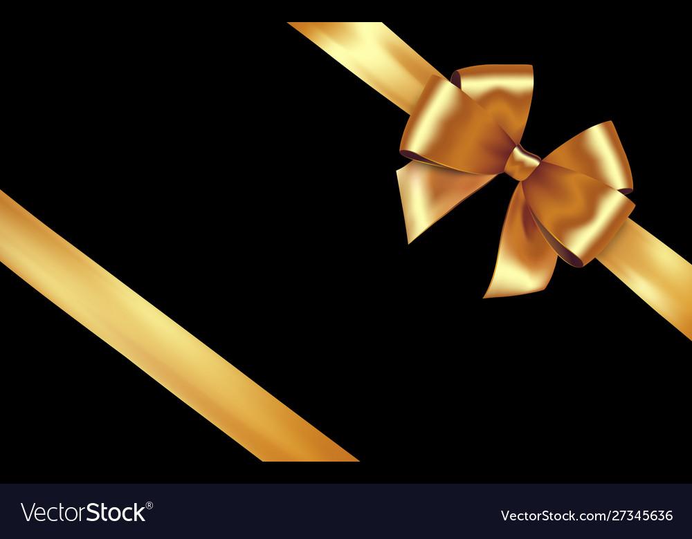 Shiny golden satin ribbon gold bow