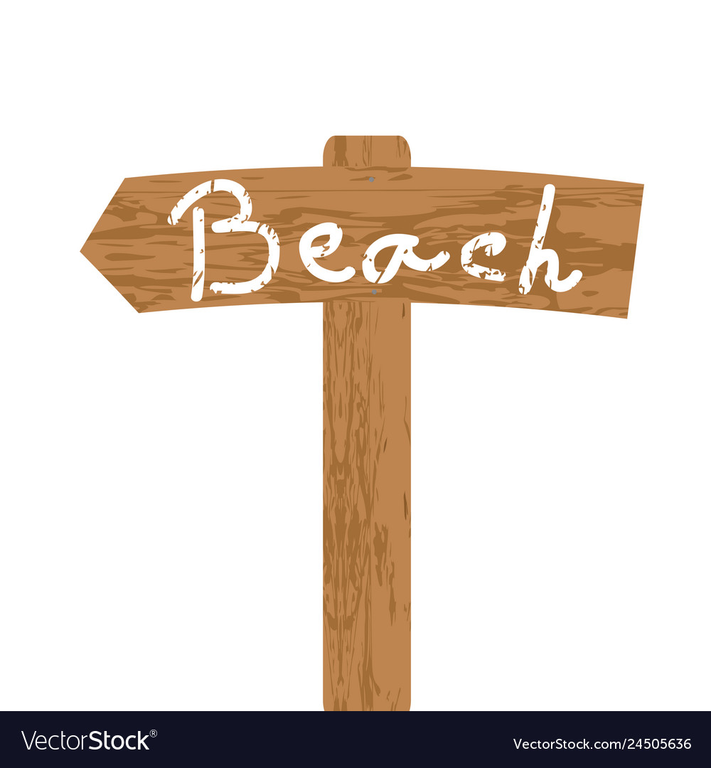 Wooden sign for beach direction