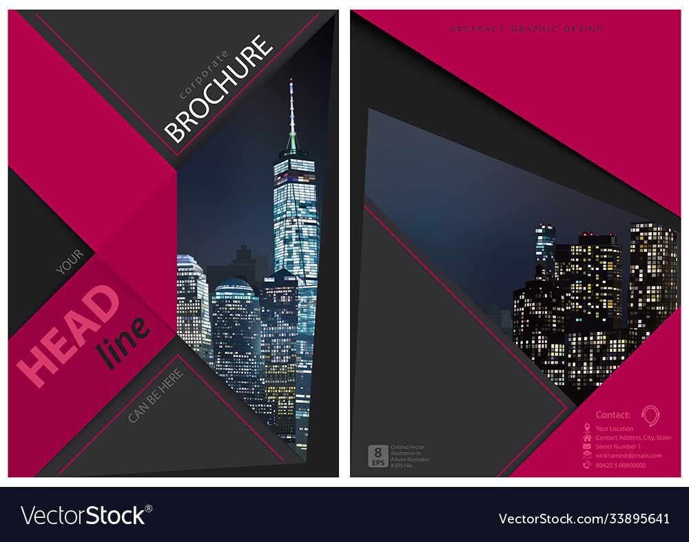 Brochure graphic design with night city