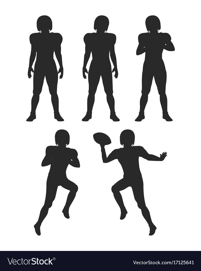 Collection of silhouettes football players set