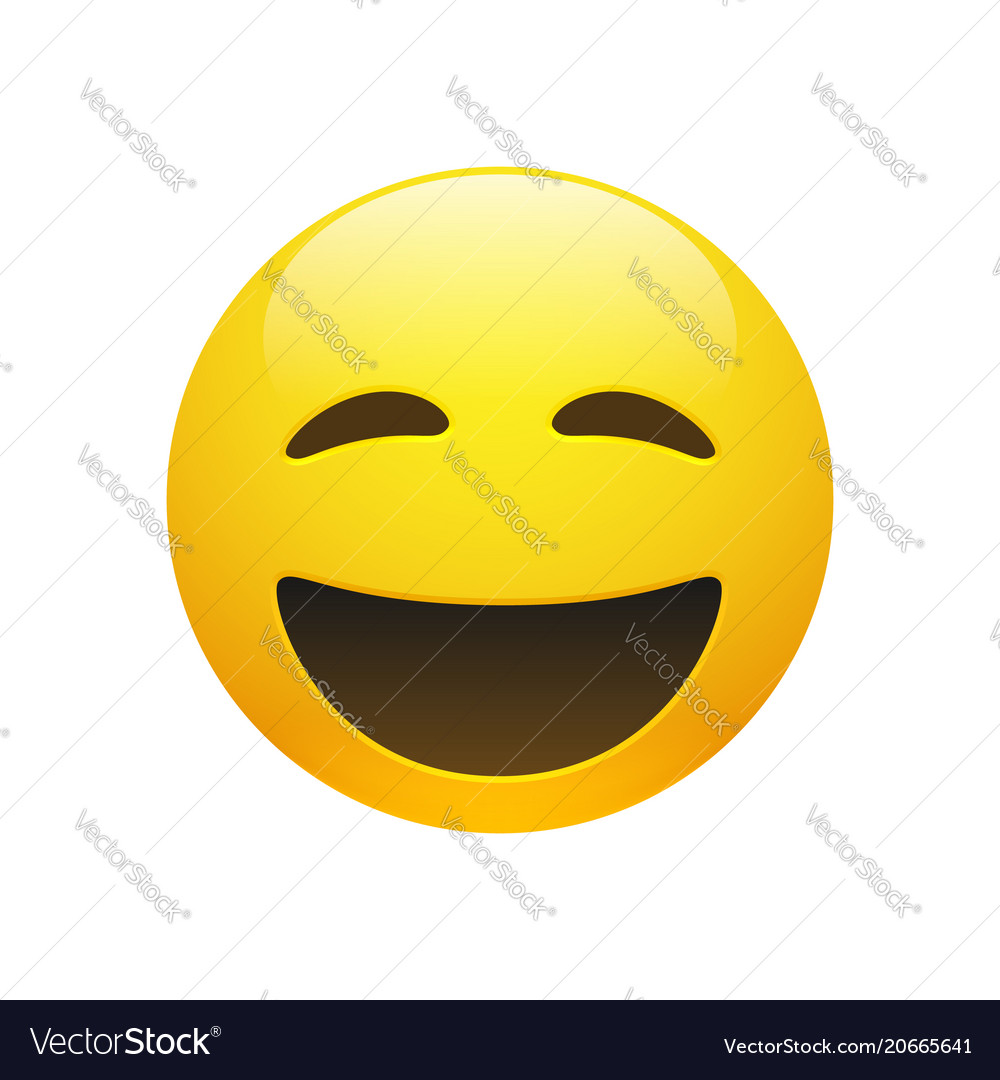 Emoji yellow smiley face with closed eyes